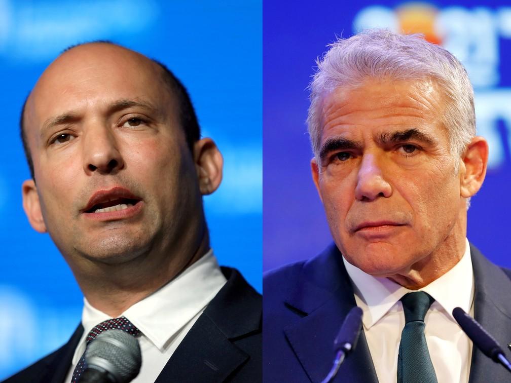 Naftali Bennett e Yair Lapid, em fotos de 24 de março. Políticos formaram coalizão que pode governar Israel — Foto: Ammar Awad/Amir Cohen/Reuters