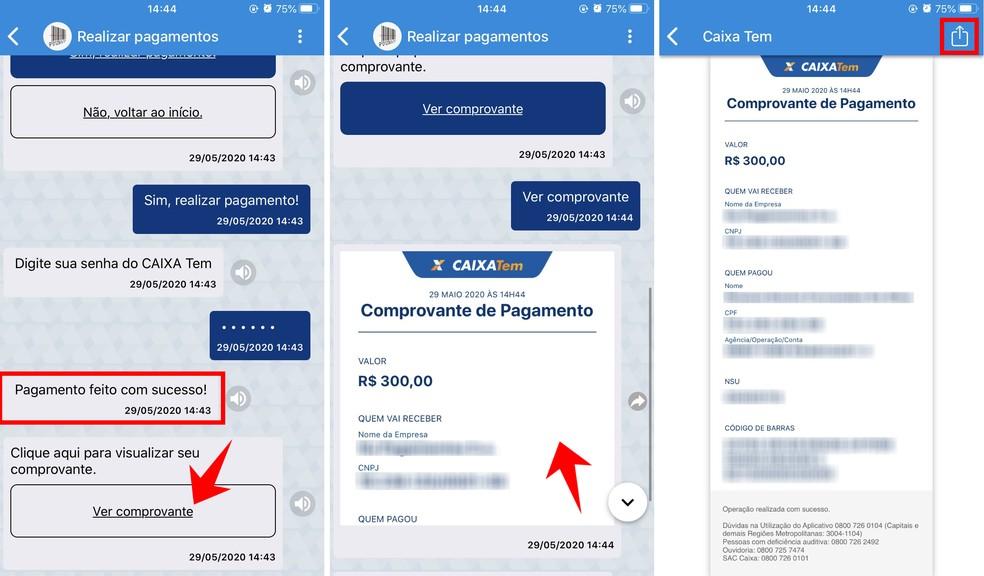 É possível compartilhar o comprovante de boleto pago pelo Caixa Tem — Foto: Reprodução/Rodrigo Fernandes