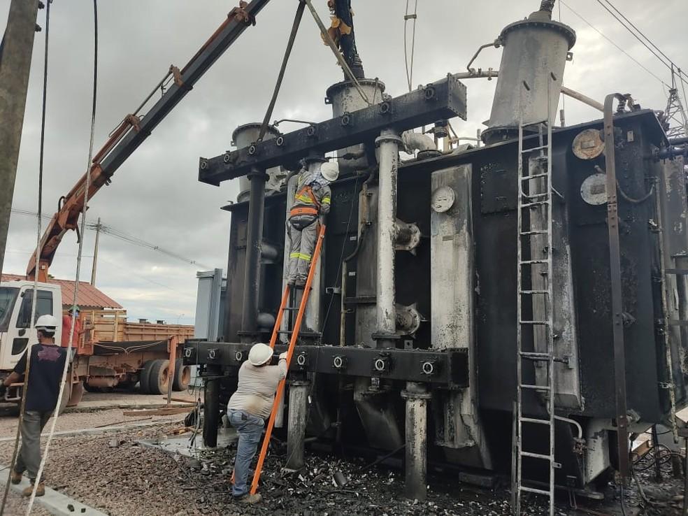 Um dos transformadores em subestação de energia em Macapá — Foto: Arquivo Pessoal