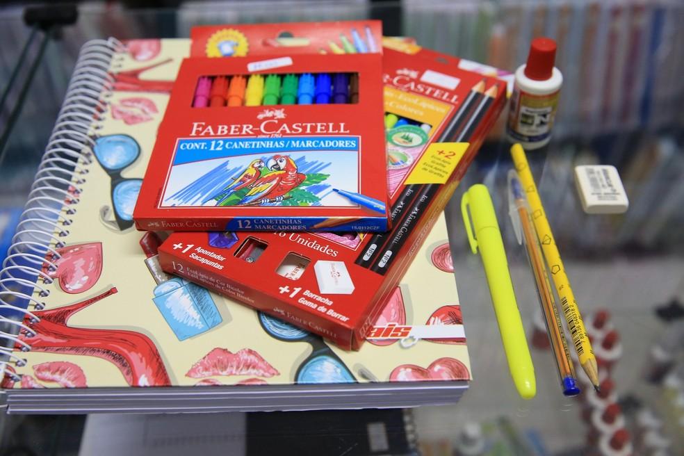 Material escolar  — Foto: Fabiane de Paula/SVM