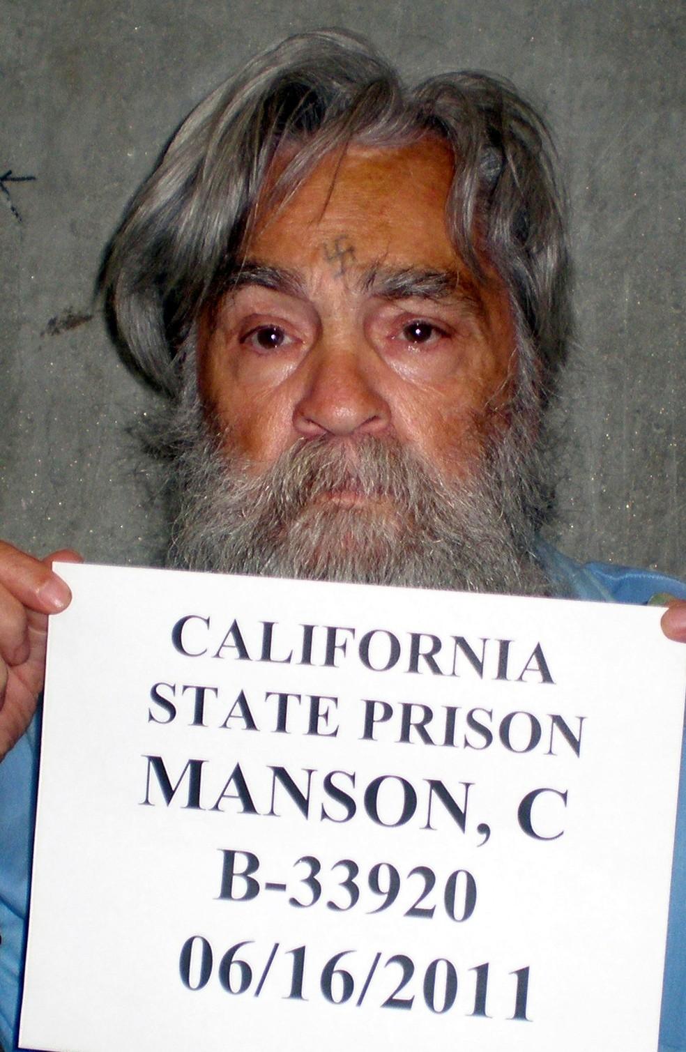 Foto de 16 de junho de 2011 mostra Charles Manson  (Foto: CDCR/ Reuters)
