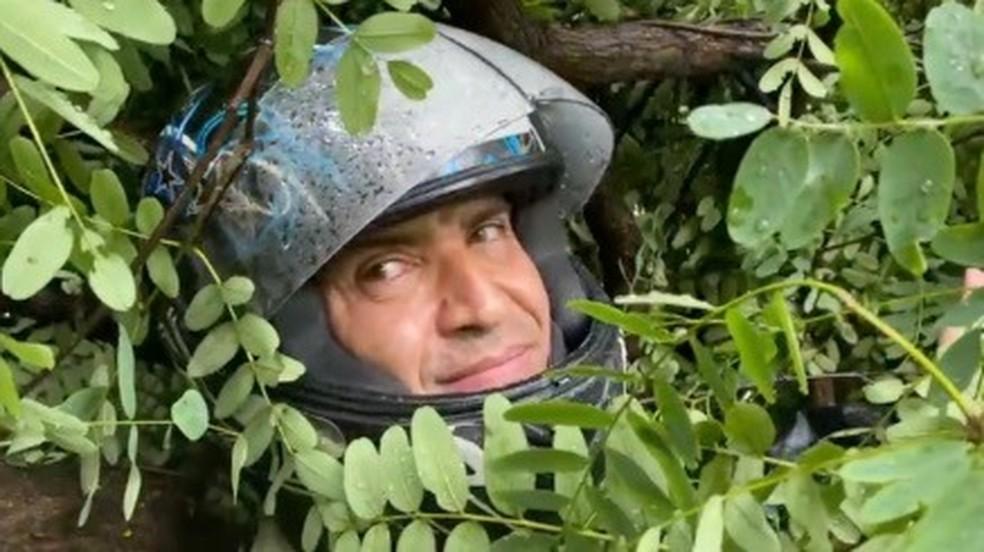Motoboy Reinaldo fica preso em meio a galhos de árvore que caiu na Avenida 23 de Maio, em SP — Foto: William Santos/TV Globo