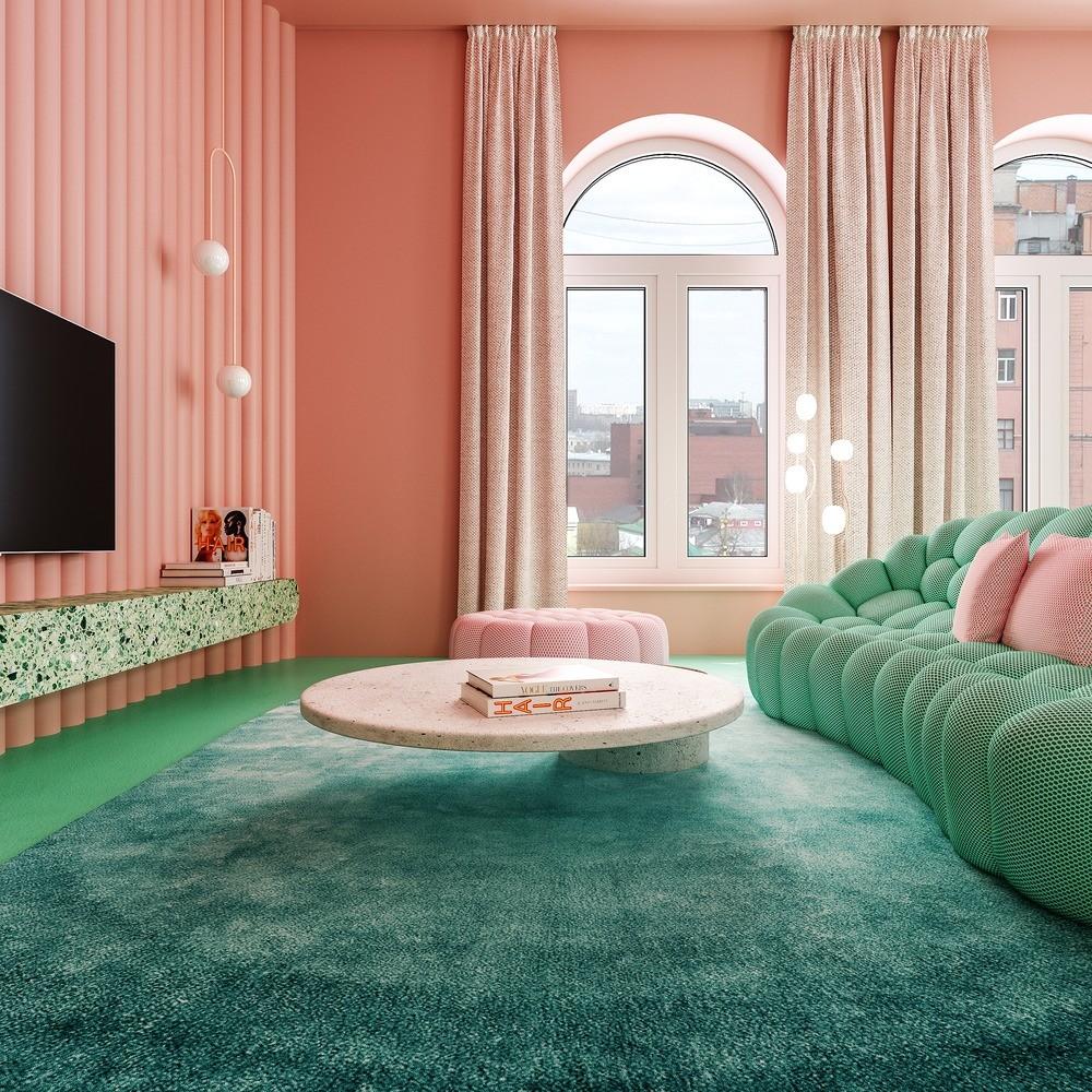 Décor do dia: rosa chiclete e verde menta na sala de estar (Foto: Divulgação)