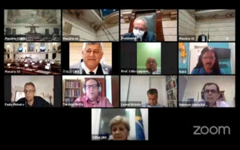 Sessão da Câmara do Rio nesta quinta-feira (17). — Foto: Reprodução