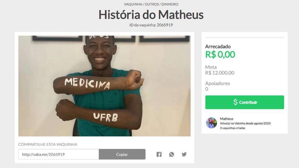 Matheus Silva passou em medicina na UFRB — Foto: Reprodução