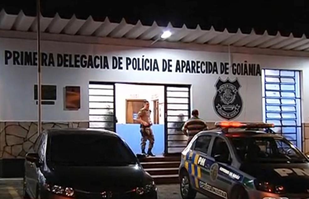 1º DP de Aparecida de Goiânia — Foto: Reprodução/TV Anhanguera