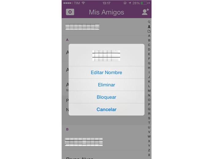 snapchat (Foto: Edite o nome de um amigo, bloqueie ou exclua-o de sua lista (Foto: Reprodução/ Laura Martins) )