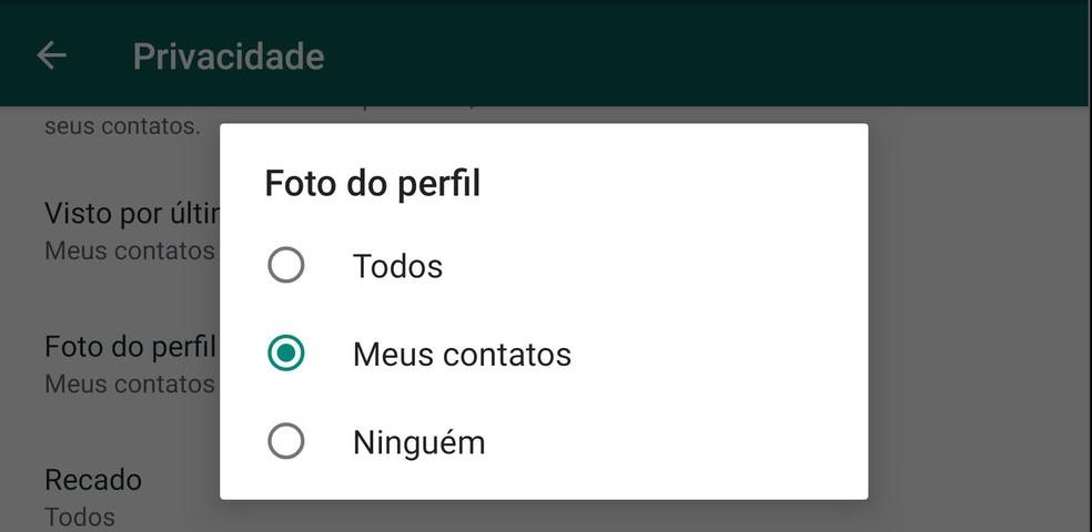 Troque a privacidade da foto do perfil para 'Meus contatos' para evitar que qualquer pessoa com seu número possa capturar sua foto de perfil.  — Foto: Reprodução