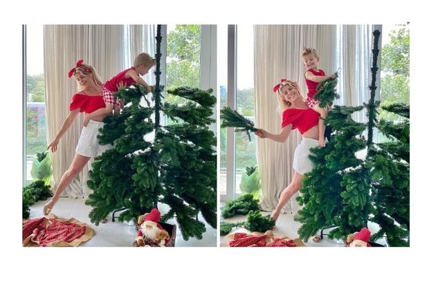 Gigantesca, a árvore de Karina Bacchi animou o filho da atriz, Enrico (Foto: Reprodução)