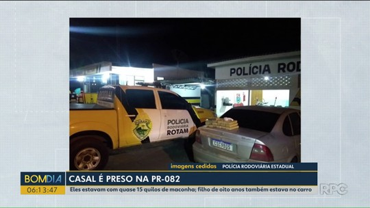 Casal é preso com drogas na PR-082, na região de Umuarama