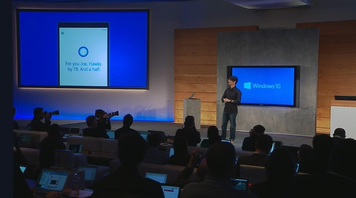 "Windows 10/ Cortana ""prevendo"" o vencedor do SuperBowl (Foto: Reprodução)"