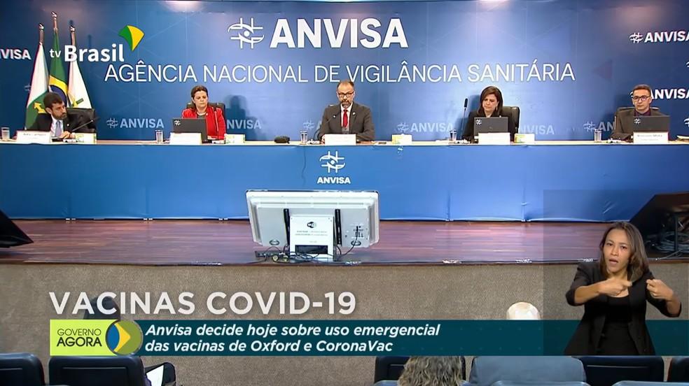 Reunião da Anvisa sobre uso emergencial das vacinas contra a Covid-19 de Oxford e CoronaVac — Foto: Reprodução/TV Brasil