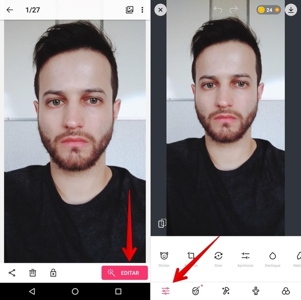Editando foto no ColorCam — Foto: Reprodução/Helito Beggiora
