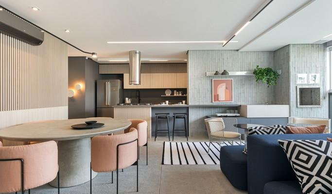 Layout privilegia integração de área social em apartamento de 87 m²