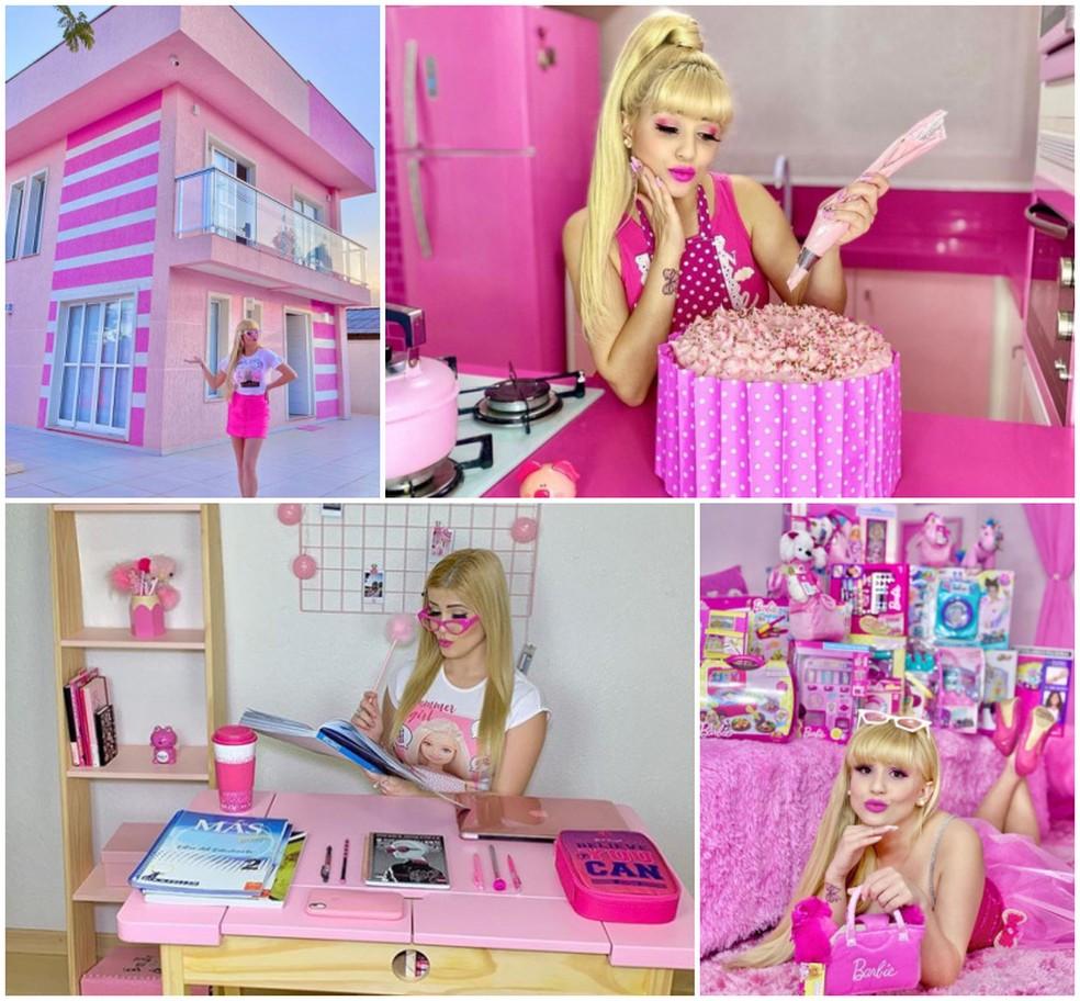 Paranaense se torna fenômeno na internet compartilhando rotina, looks e casa inspirada na Barbie — Foto: Arquivo pessoal/Bruna Barbie