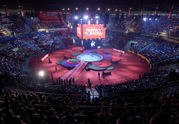 Evento de preparação para o Enem do Santander convidou mais de mil escolas ao Ginásio do Ibirapuera, em São Paulo (Foto: Divulgação/Santander)