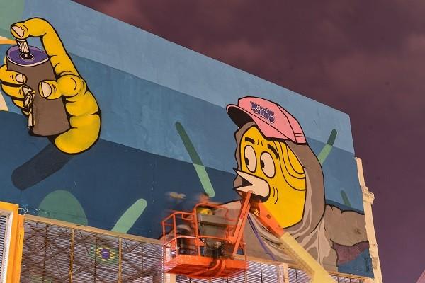 """SRC, em seu mural:  """"A natureza brincando com o homem"""""""