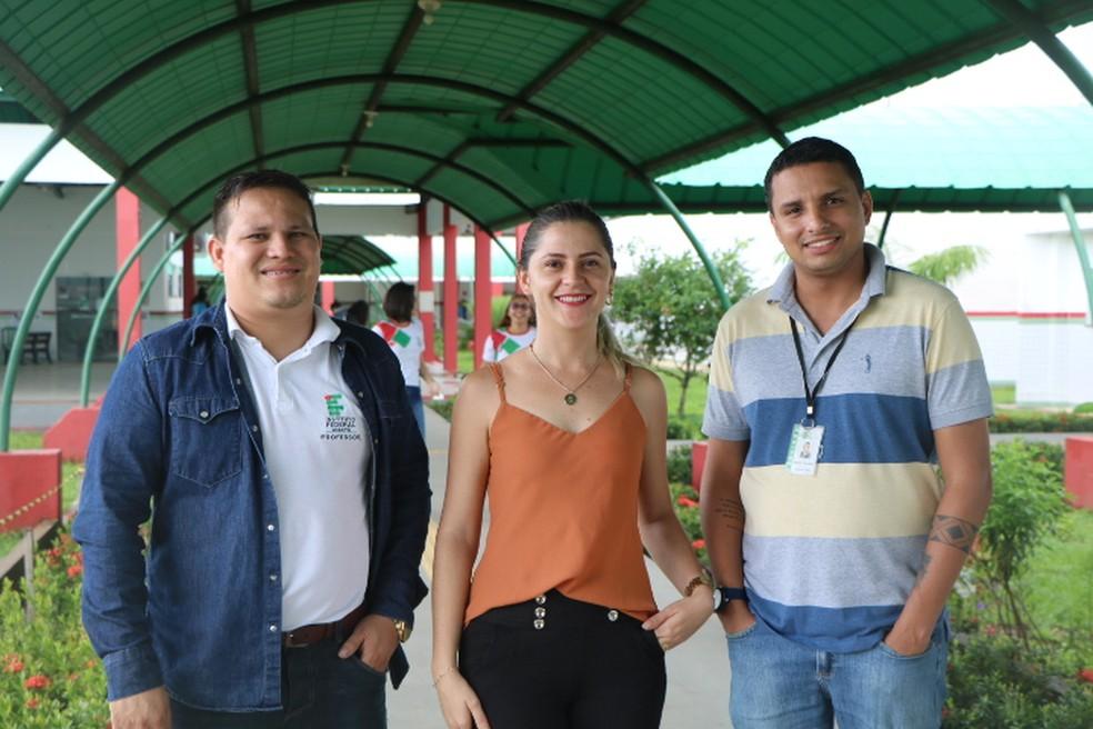 (da esq. à dir.) Diego Armando, Carla Samara Campelo e Welber Andrade são do Ifap e vão compor projeto de estudo das árvores gigantes — Foto: Ifap/Divulgação
