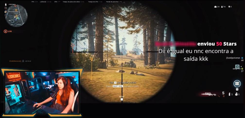 Diana Zambrozuski joga 'Call of Duty: Warzone' em seu canal no Facebook Gaming — Foto: Reprodução/Facebook/Diana Zambrozuski