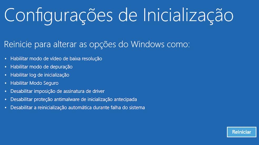Acesse o Modo de Segurança do Windows — Foto: Reprodução/Paulo Alves