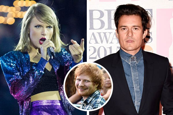 Taylor Swift, Orlando Bloom e Ed Sheeran (Foto: Getty Images)