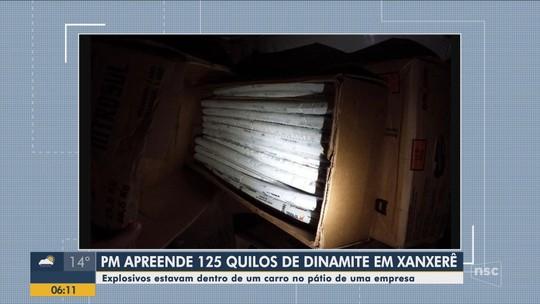 Polícia encontra 125 quilos de explosivos dentro de carro em Xanxerê