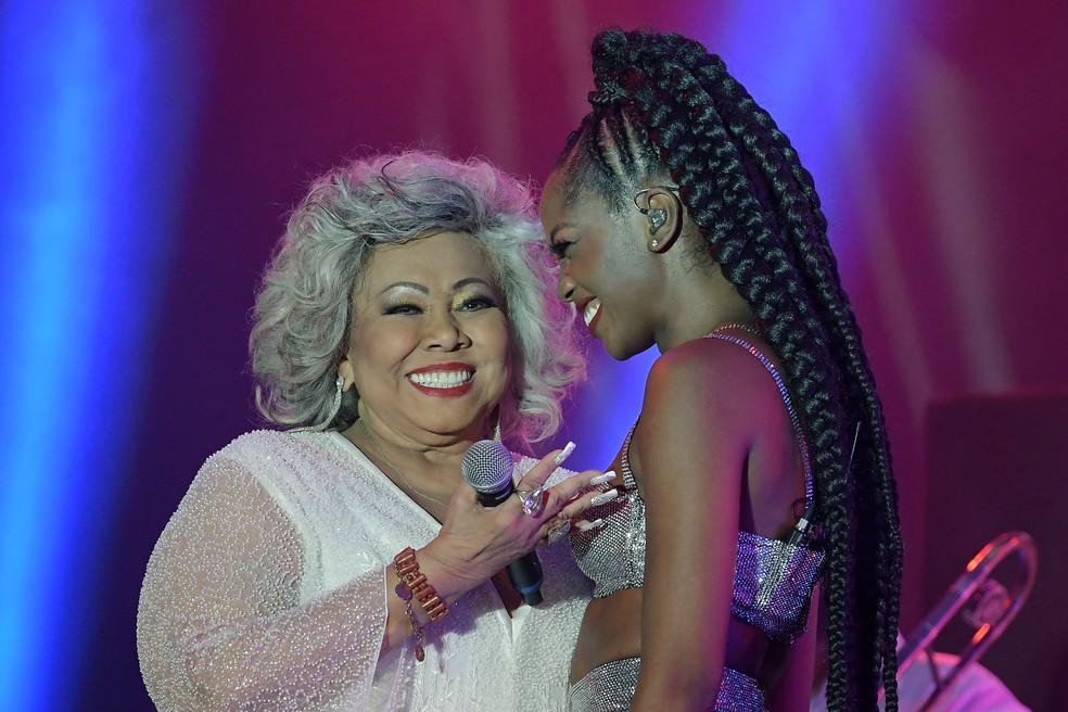Iza e Alcione cantaram juntas sucessos da 'Marrom' no Rock in Rio 2019 — Foto: Alexandre Durão / G1