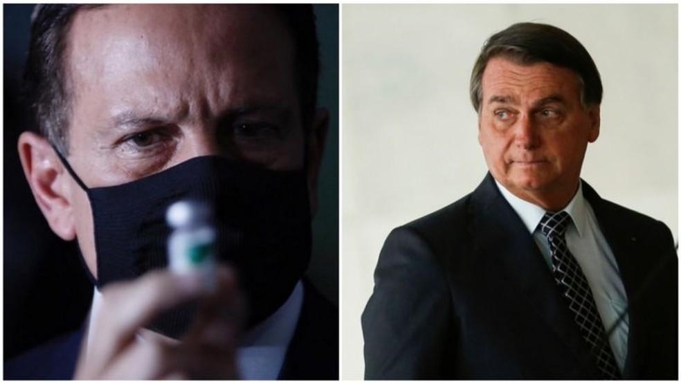 Bolsonaro deixou claro que decisão de suspender parceria com farmacêutica chinesa está relacionada a desacordo com o governador de São Paulo, João Doria — Foto: Governo de São Paulo/Divulgação; Reuters