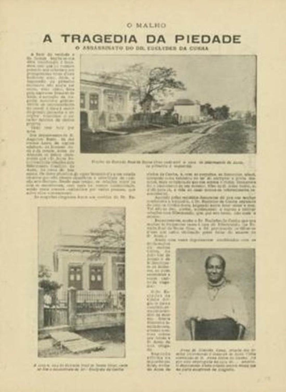 """Revista """"O Malho"""" de 1909 com a cobertura da morte de Euclides — Foto: Fundação Casa de Rui Barbosa"""