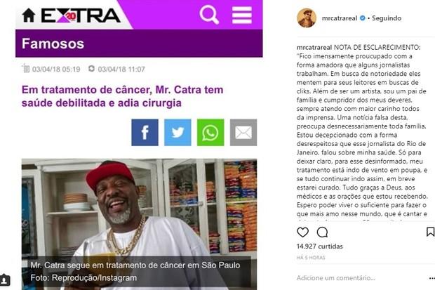 Mr. Catra faz desabafo sobre luta contra o câncer (Foto: Reprodução/Instagram)