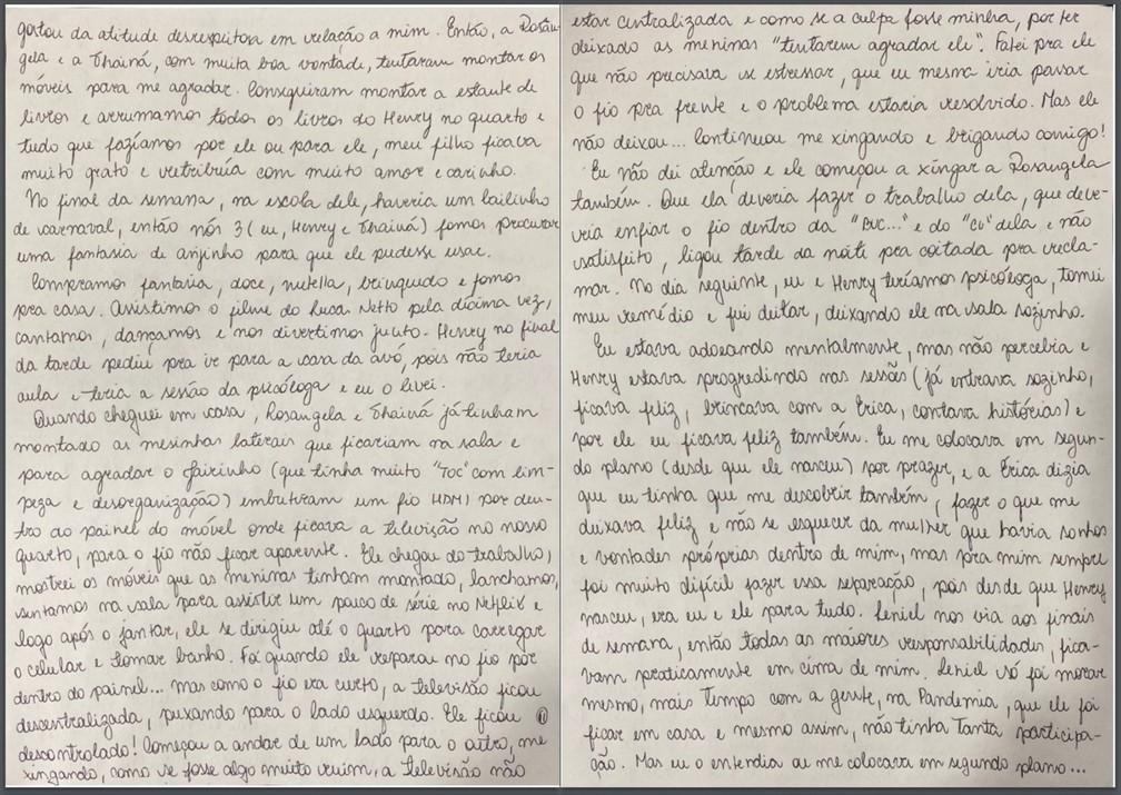 Caso Henry Borel: carta de Monique Medeiros (parte 11) — Foto: Reprodução
