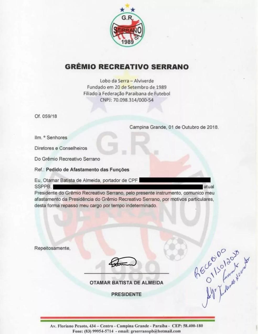 Em ofício, Otamar pede licença do Serrano-PB — Foto: Reprodução