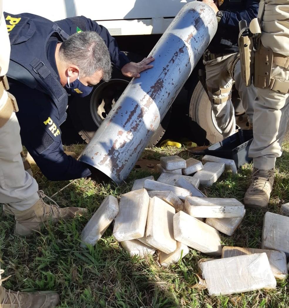 Apreensão de cocaína em Ourinhos foi uma das maiores em rodovias federais do Brasil neste ano — Foto: Polícia Rodoviária Federal/Divulgação