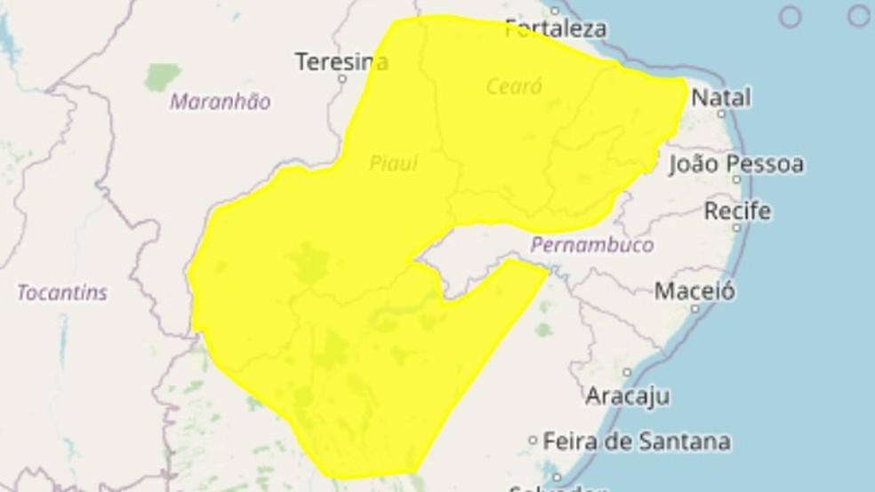 Inmet alerta para perigo potencial de baixa umidade em 92 cidades da Paraíba — Foto: Reprodução/Inmet