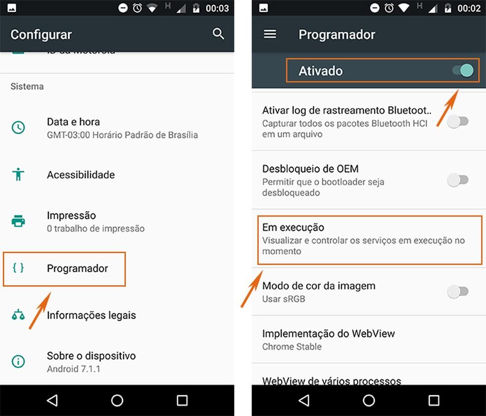 Selecione os apps em execução no Android