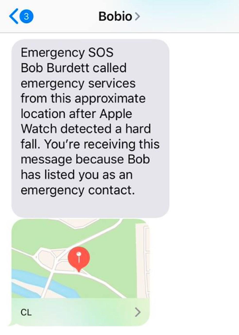 Filho de Bob recebeu mensagem com localização do pai captada pelo GPS do Apple Watch — Foto: Reprodução/Gabe Burdett