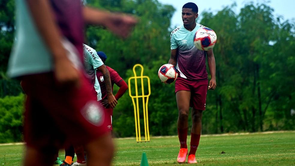 Marcos Paulo durante treino do sub-23 do Fluminense em março — Foto: Mailson Santana / Fluminense FC
