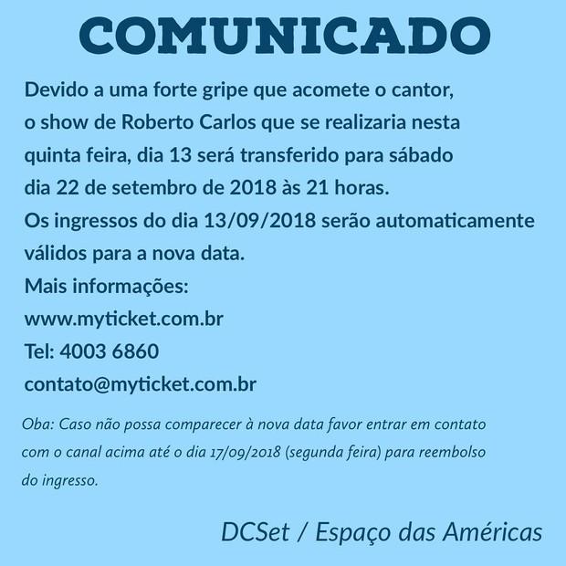 Roberto Carlos adia show por causa de gripe (Foto: Reprodução/Instagram)