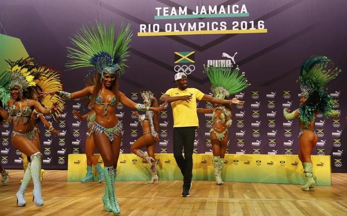 Usain Bolt - Time Jamaica - coletiva de imprensa (Foto: REUTERS/Nacho Doce)