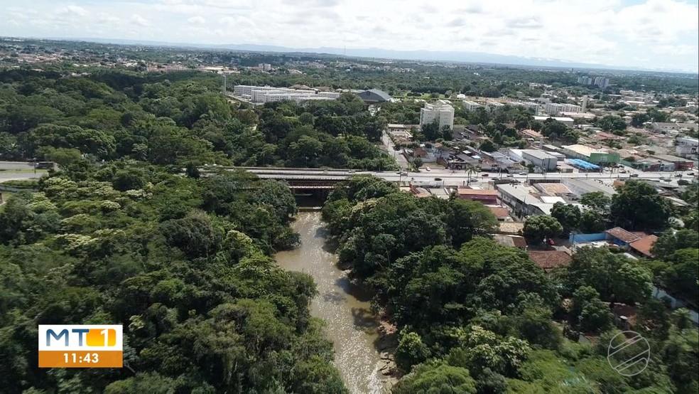 Rio deságua no Rio Cuiabá — Foto: Reprodução/TVCA