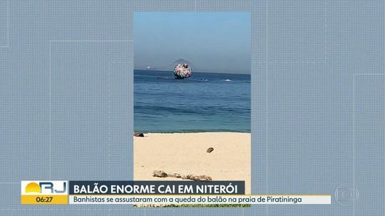 Balão enorme cai em Niterói e assusta banhistas