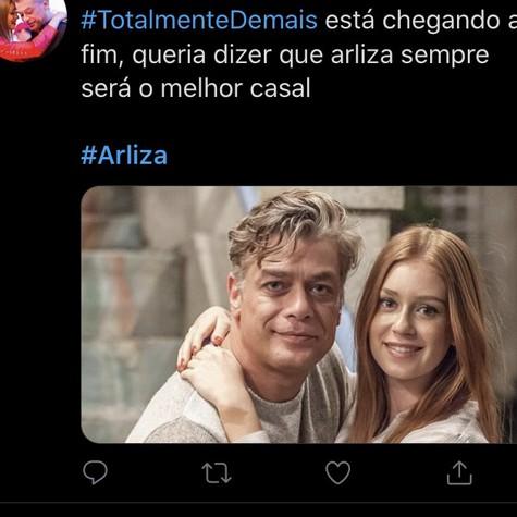 Postagem nas redes sobre o final de 'Totalmente demais' (Foto: Reprodução/ Twitter)