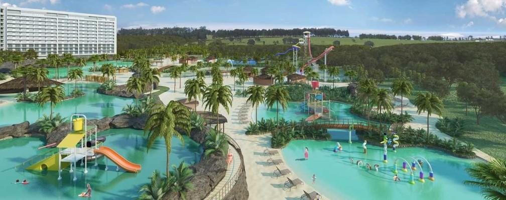 O Blue Park promete ser o maior parque aquático e o primeiro termal do sul do país (Foto: Divulgação)