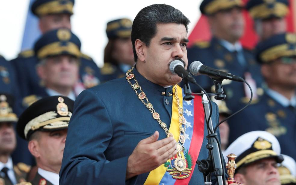 O presidente da Venezuela, Nicolás Maduro, durante parada militar em Maracay. (Foto: Miraflores Palace/Handout via Reuters)