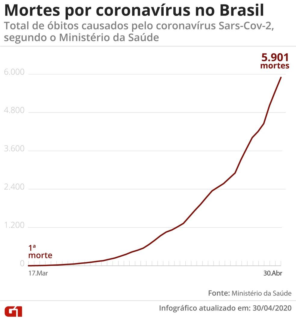 Mortes por coronavírus no Brasil em 30 de abril de 2020 — Foto: Guilherme Pinheiro/G1
