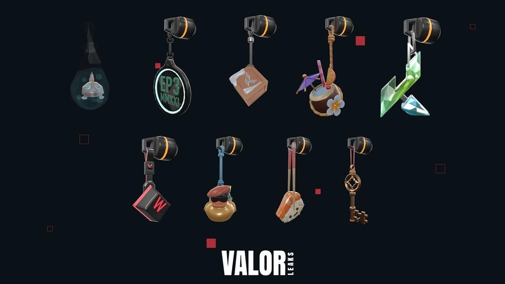 Chaveiros disponíveis no Passe de Batalha do Episódio 3 de Valorant — Foto: Reprodução/Valorleaks