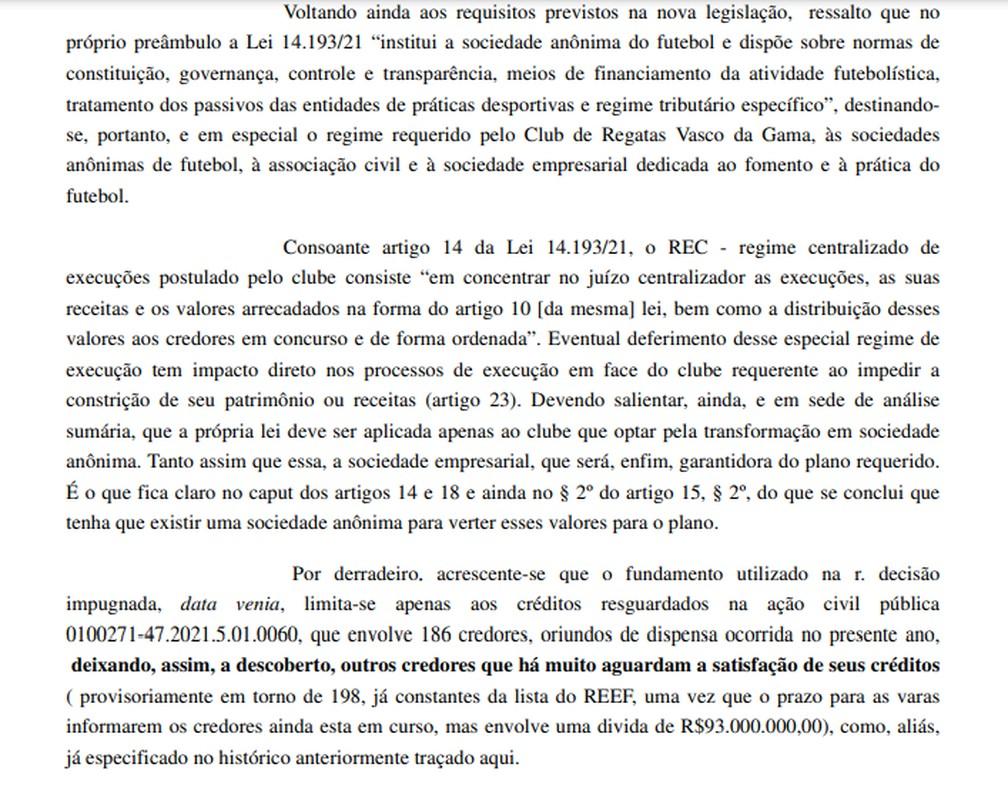 Decisão da relatora do TRT-1 que derrubou a suspensão da execução forçada contra o Vasco — Foto: Reprodução