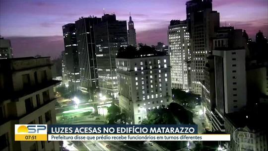 Luzes acesas do prédio da Prefeitura chamam a atenção de telespectador
