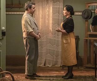 Gloria Pires e Cassio Gabus Mendes em cena como Lola e Afonso em 'Éramos seis' | Paulo Belote/TV Globo