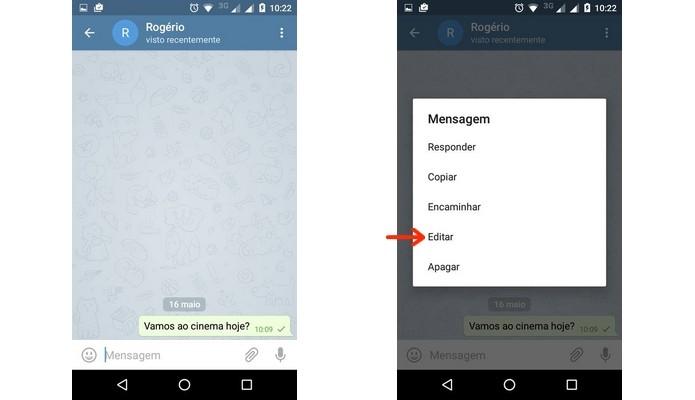 Acesso ao menu de edição de mensagens do Telegram (Foto: Reprodução/Raquel Freire)